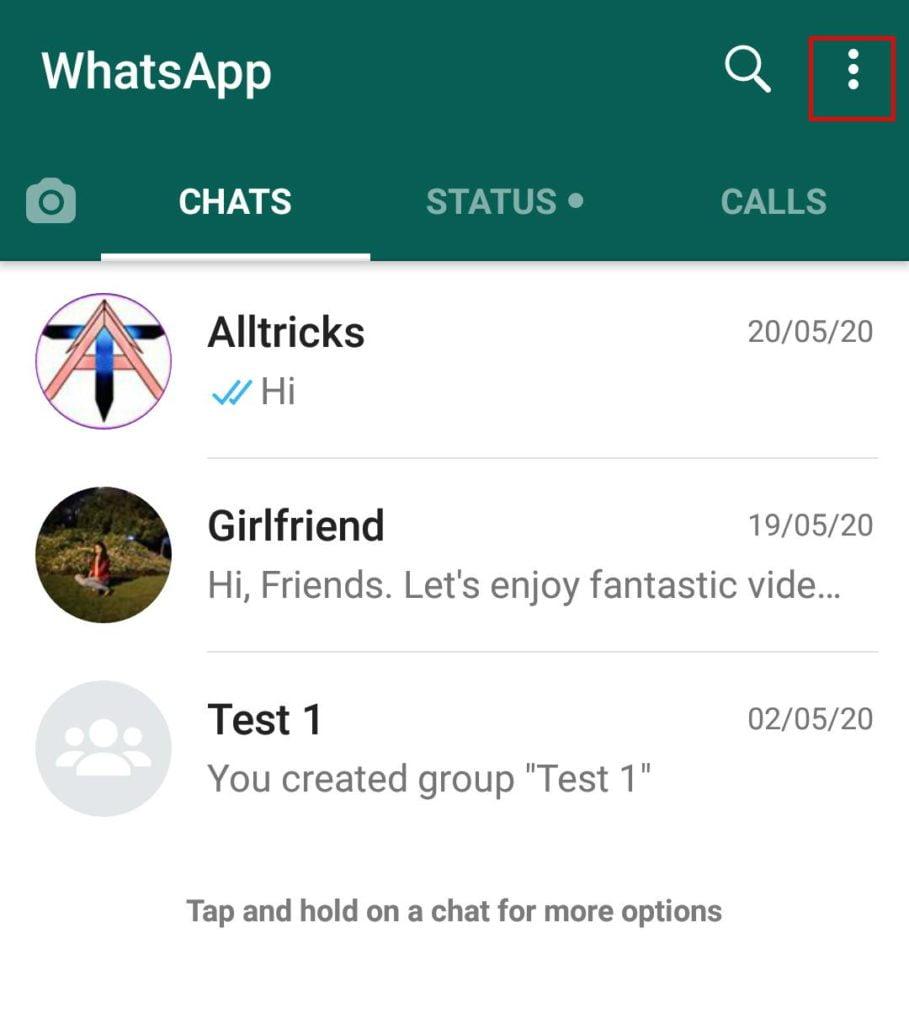 How to disable read receipt in WhatsApp - WhatsApp home screen